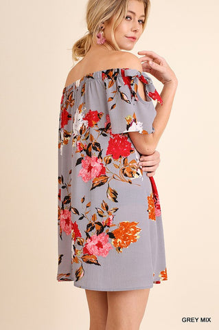 Off Shoulder Floral Dress - Navy