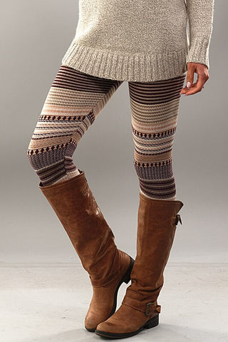 Fair Isle Leggings - Brown - Blue Chic Boutique  - 1