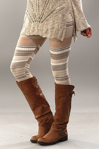 Fair Isle Leggings - Brown - Blue Chic Boutique  - 2