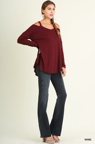 Evening Out Cold Shoulder Top - Wine - Blue Chic Boutique  - 5
