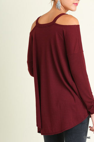 Evening Out Cold Shoulder Top - Wine - Blue Chic Boutique  - 6