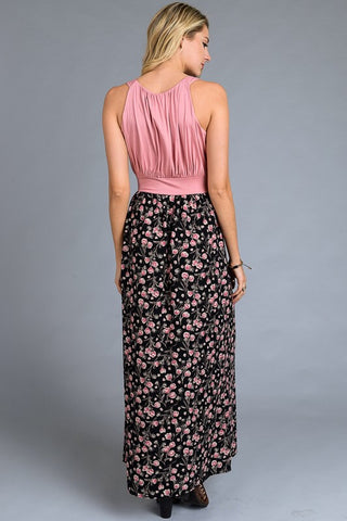 Spring Bliss Maxi Dress - Mauve Floral