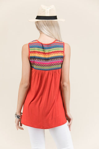 Embroidered Sleeveless Baby Doll Top - Dark Orange
