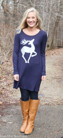 Fly to the Sky Glitter Reindeer Tunic Top - Navy - Blue Chic Boutique  - 1