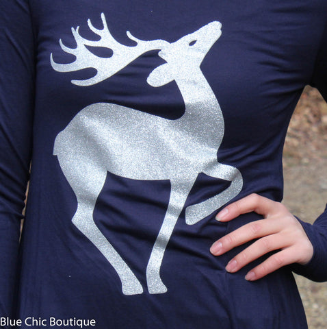 Fly to the Sky Glitter Reindeer Tunic Top - Navy - Blue Chic Boutique  - 7