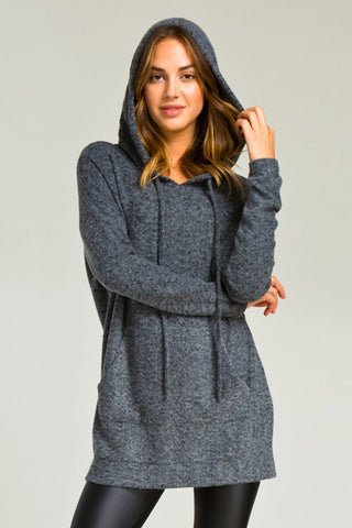 Soft and Cozy Hoodie - Charcoal - Blue Chic Boutique  - 1