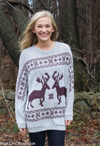 Reindeer and Snowflake Sweater - Burgundy - Blue Chic Boutique  - 1