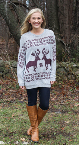 Reindeer and Snowflake Sweater - Burgundy - Blue Chic Boutique  - 5