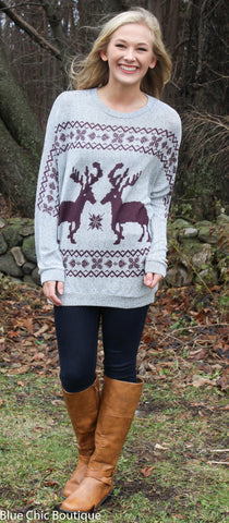 Reindeer and Snowflake Sweater - Burgundy - Blue Chic Boutique  - 4