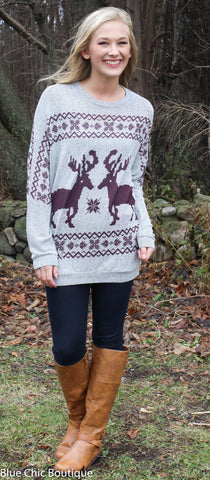 Reindeer and Snowflake Sweater - Burgundy - Blue Chic Boutique  - 3