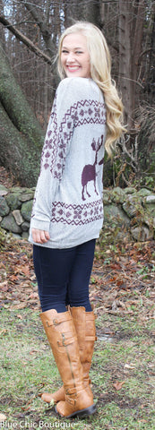 Reindeer and Snowflake Sweater - Burgundy - Blue Chic Boutique  - 2
