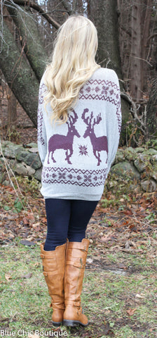 Reindeer and Snowflake Sweater - Burgundy - Blue Chic Boutique  - 6