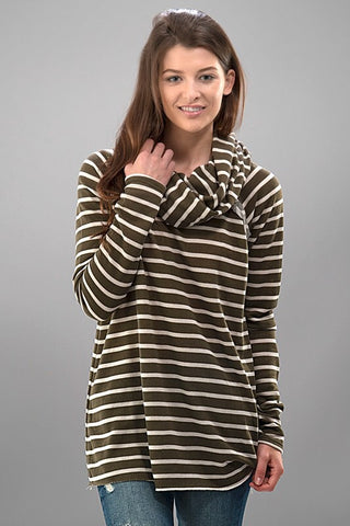 Cozy Cowl Neck Striped Top - Olive - Blue Chic Boutique  - 1