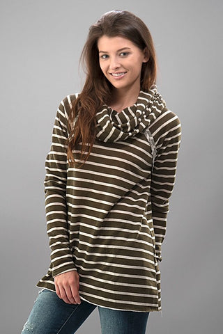 Cozy Cowl Neck Striped Top - Olive - Blue Chic Boutique  - 2