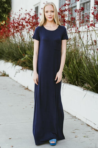 Side Slit Maxi Dress - Navy