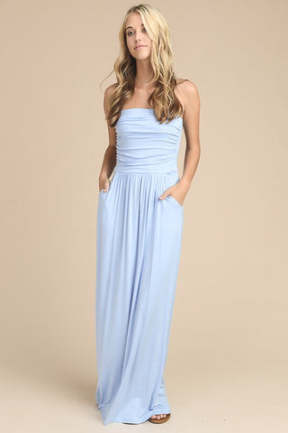 Simple and Stylish Maxi Dress - Light Blue