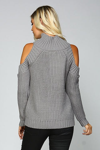 Cable Knit Cold Shoulder Sweater - Grey - Blue Chic Boutique  - 3