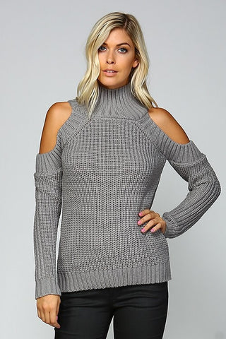 Cable Knit Cold Shoulder Sweater - Grey - Blue Chic Boutique  - 4