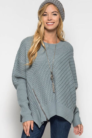 OSFA Oversized Cable Knit Sweater Poncho - Light Taupe - Blue Chic Boutique  - 2