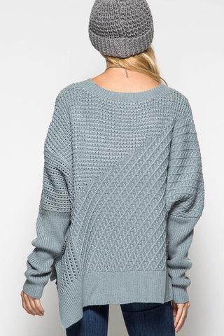 OSFA Oversized Cable Knit Sweater Poncho - Light Taupe - Blue Chic Boutique  - 3