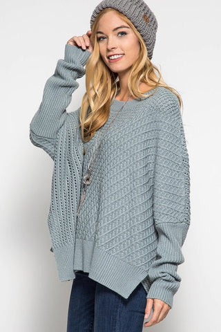 OSFA Oversized Cable Knit Sweater Poncho - Light Taupe - Blue Chic Boutique  - 4