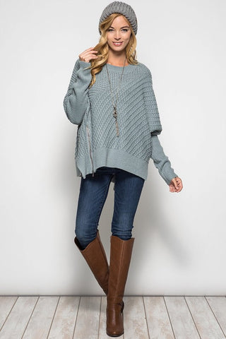 OSFA Oversized Cable Knit Sweater Poncho - Light Taupe - Blue Chic Boutique  - 6