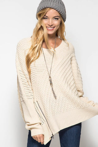 OSFA Oversized Cable Knit Sweater Poncho - Light Taupe - Blue Chic Boutique  - 1