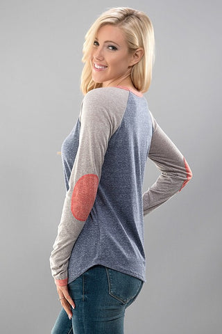 Baseball Tee - Gray and Coral - Blue Chic Boutique  - 1
