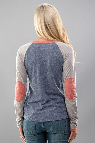 Baseball Tee - Gray and Coral - Blue Chic Boutique  - 2
