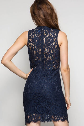 Meet me at Midnight Lace Dress - Navy - Blue Chic Boutique  - 2