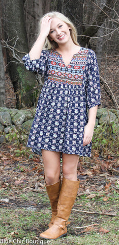 Boho Baby Doll Dress - Navy - Blue Chic Boutique  - 9