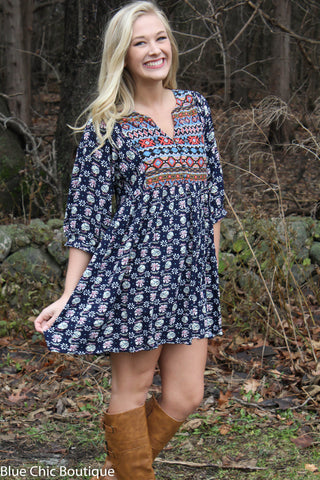 Boho Baby Doll Dress - Navy - Blue Chic Boutique  - 11