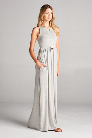 Solid Racerback Maxi Dress - Gray