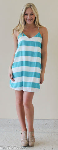 Striped Racer Back Dress - Jade - Blue Chic Boutique  - 2