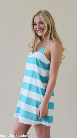 Striped Racer Back Dress - Jade - Blue Chic Boutique  - 1
