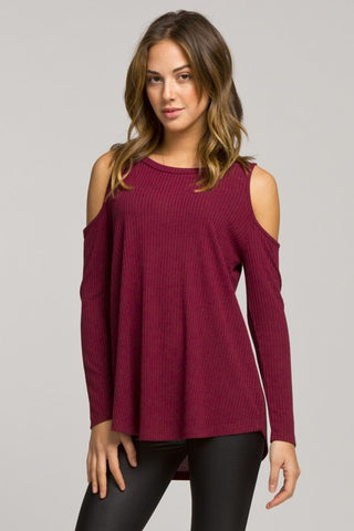 Casual Cold Shoulder Top - Burgundy - Blue Chic Boutique  - 1