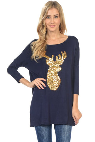 Sequined Reindeer Dolman Tunic - Navy - Blue Chic Boutique  - 1