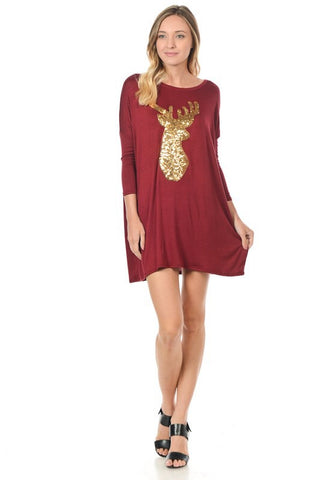 Sequined Reindeer Dolman Tunic - Burgundy - Blue Chic Boutique  - 1