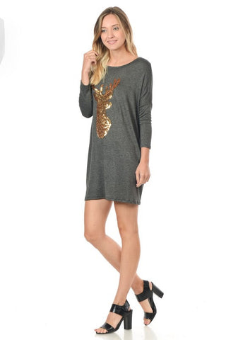 Sequined Reindeer Dolman Tunic - Navy - Blue Chic Boutique  - 3