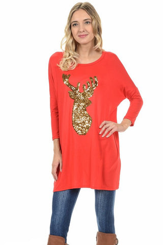 Sequined Reindeer Dolman Tunic - Red - Blue Chic Boutique  - 1