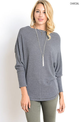 Cozy Lodge Top - Charcoal - Blue Chic Boutique  - 1