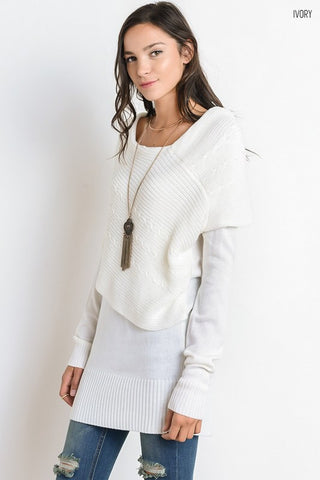 Layers of Warmth Sweater - Ivory - Blue Chic Boutique  - 1