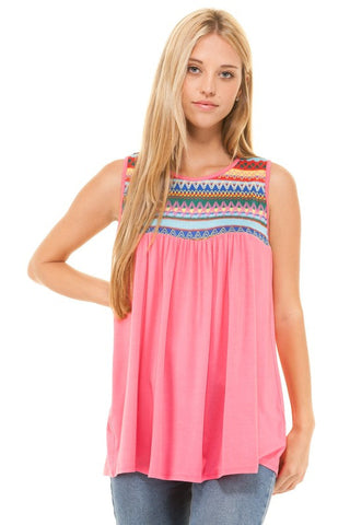 Embroidered Sleeveless Baby Doll Top - Pink