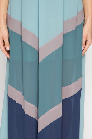 Summer Sunsets Color Block Maxi Dress - Mint and Navy