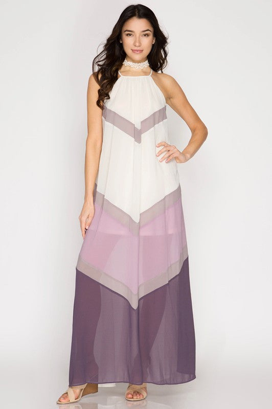 061413cf653 Summer Sunsets Color Block Maxi Dress - Cream and Purple