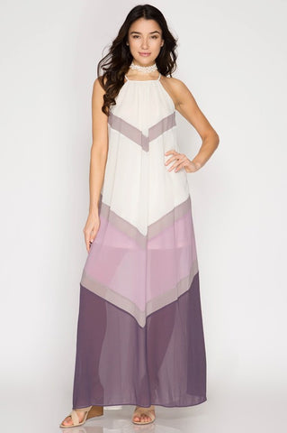 Summer Sunsets Color Block Maxi Dress - Cream and Purple