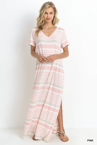 Day at the Lake Striped Maxi Dress - Pink