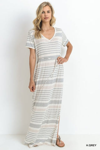 Day at the Lake Striped Maxi Dress - Heather Gray