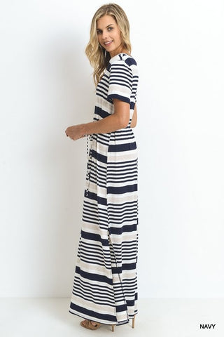 Day at the Lake Striped Maxi Dress - Navy