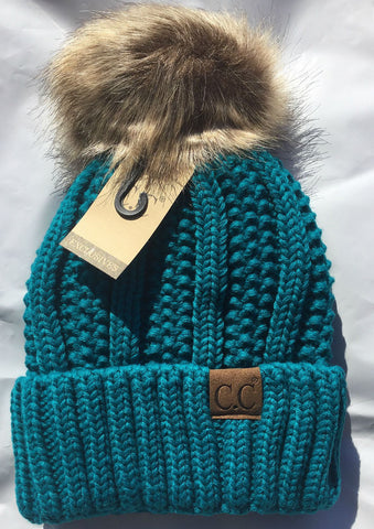 C.C. Knit Beanie with Faux Fur Pom Pom - Blue Chic Boutique  - 4
